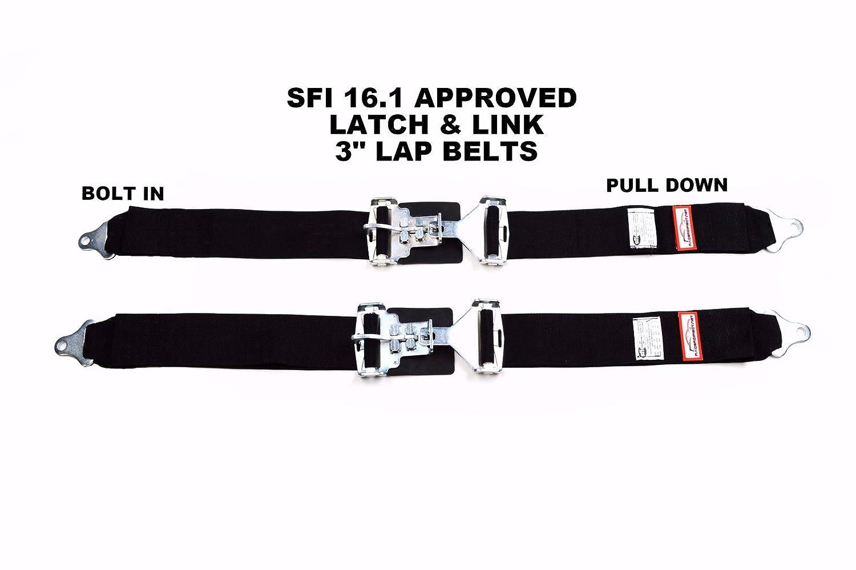Racerdirect.net Rally New Pair 3 Latch /& Link Lap Belt 2 Point Racing Belt Bolt in Black