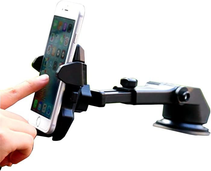 One Hand,Car Mount Universal Phone Holder Windshield Mount/Dashboard Bracket with Adjustable Arm Compatible with iPhone XR X XS MAX 8/8 Plus 7 7 Plus 6s Plus 6s 6,Galaxy S9 S8 S7 S6,More Black