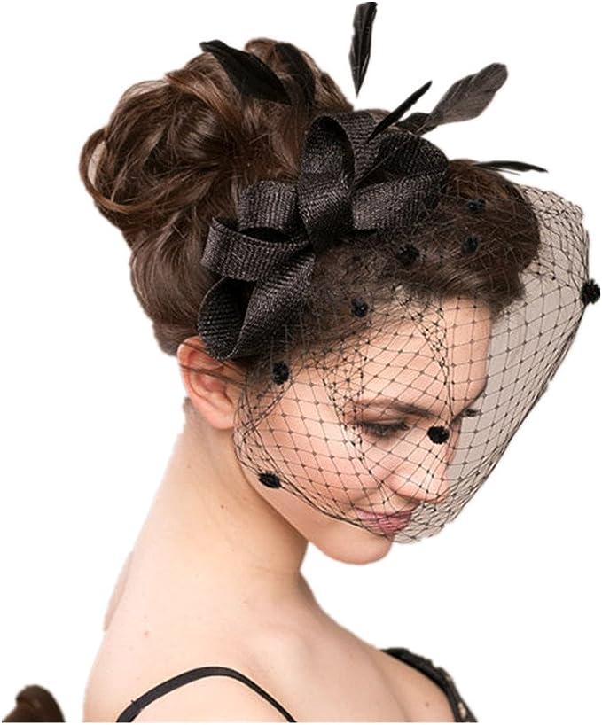 Union Tesco Schleier Clip Haar,Minihut Fascinator Haarschmuck mit Schleier f/ür Kost/üm Karneval Fasching oder Burlesque