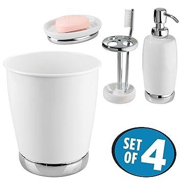 mDesign Juego de 4 accesorios para el baño con dosificador de jabón, soporte para cepillos