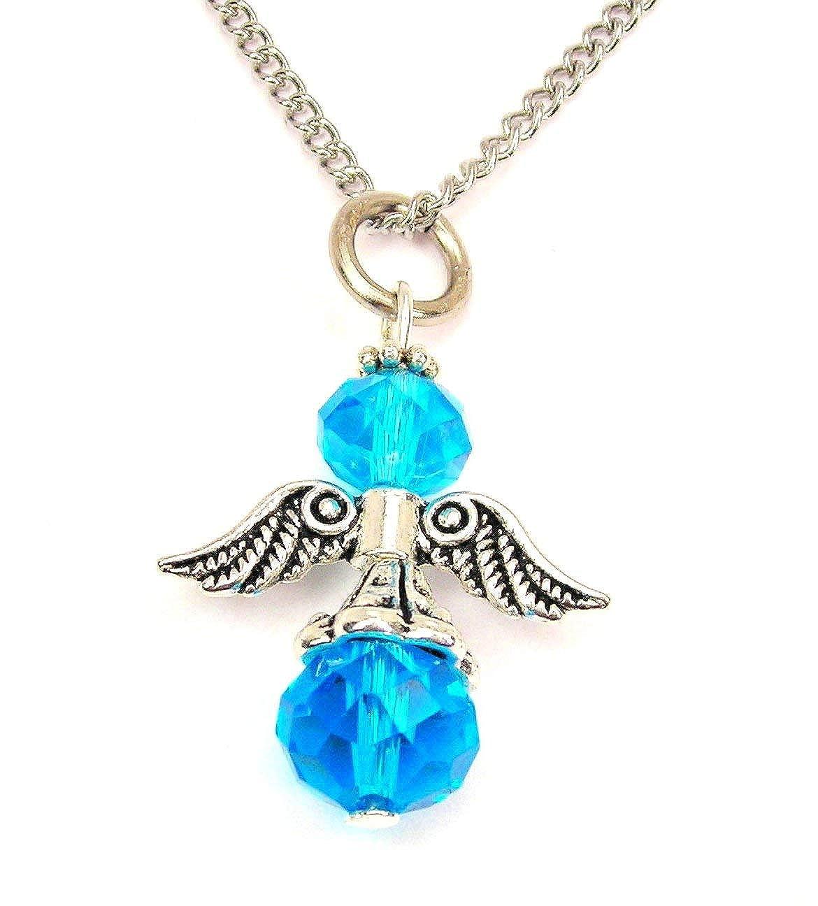 ChubbyChicoCharms March Birthstone Angel Silver Tone Chain 18 Necklace