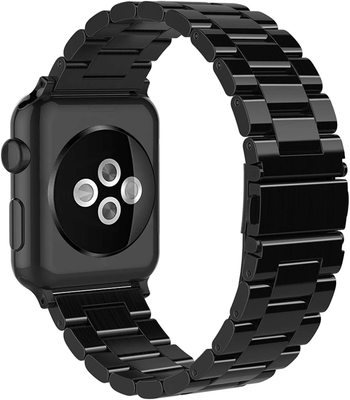 Simpeak Band Compatible with Apple Watch 42mm 44mm Series 6 SE 5 4 3 2 1, Women Men Solid Stainless Steel Business Band Strap Replacement for iWatch 42 44, Bright Black