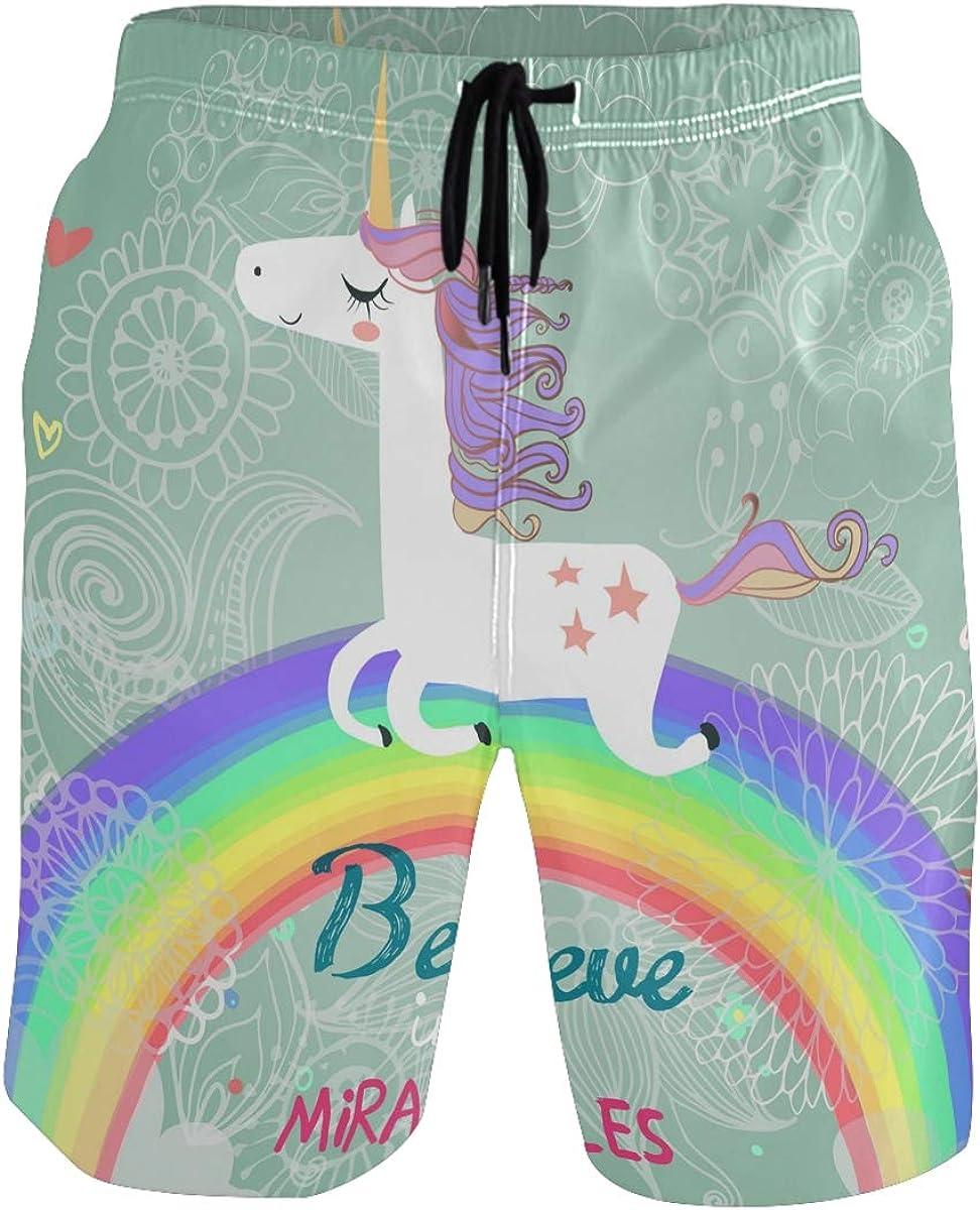 Mens Swim Trunks Quick Dry Summer Holiday Beach Shorts with Mesh Lining Wave and Rainbow Beachwear