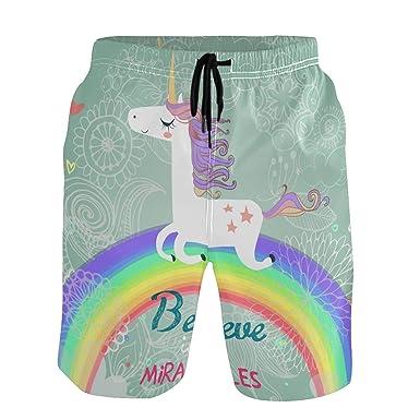 05152e784a WIHVE Mens Swim Trunks Unicorn Anchor Quick Dry Beach Board Shorts ...