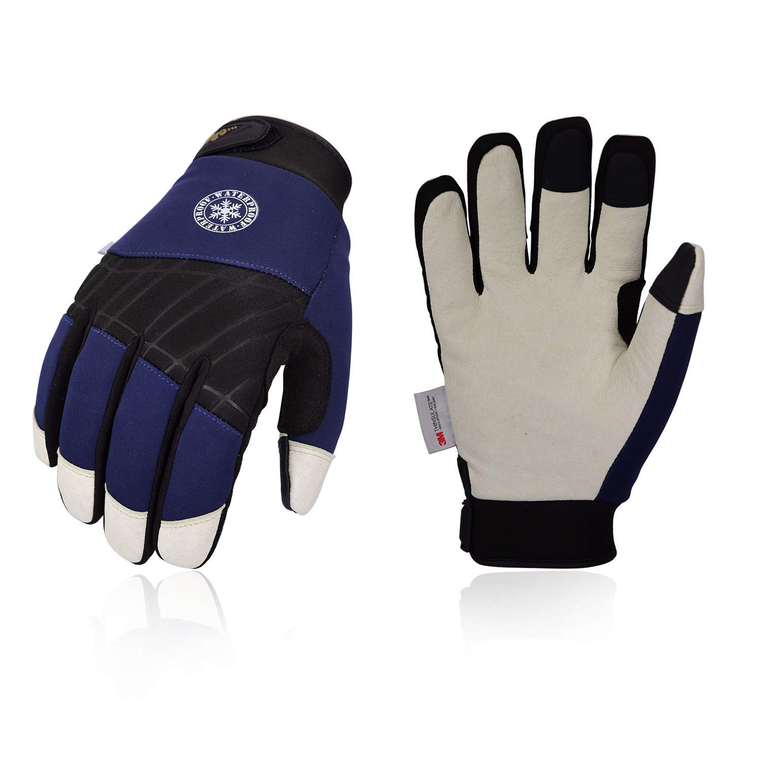 Vgo 0℃//32 ℉or Above 3M Thinsulate C40 Lined Winter Premium Pigskin Leather Waterproof Work Gloves 1Pair,Size L,Dark Blue,PA1016FW