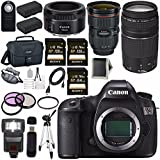 Canon EOS 5DS 5D S DSLR Camera + EF 24-70mm f/2.8L II USM Lens + Canon EF 75-300mm f/4-5.6 III Telephoto Zoom Lens + Canon EF 50mm f/1.8 STM Lens + LPE-6 Lithium Ion Battery Bundle 16
