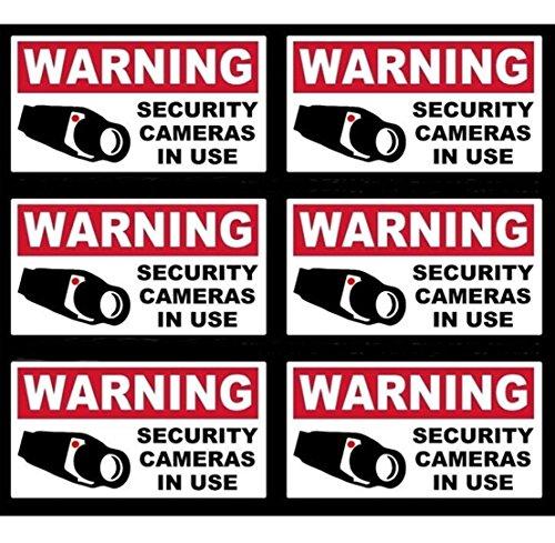 6 Pcs Tops Popular Video Surveillance Sticker Yard Sign Anti-Thief Windows Decals CCTV Watched Size 4
