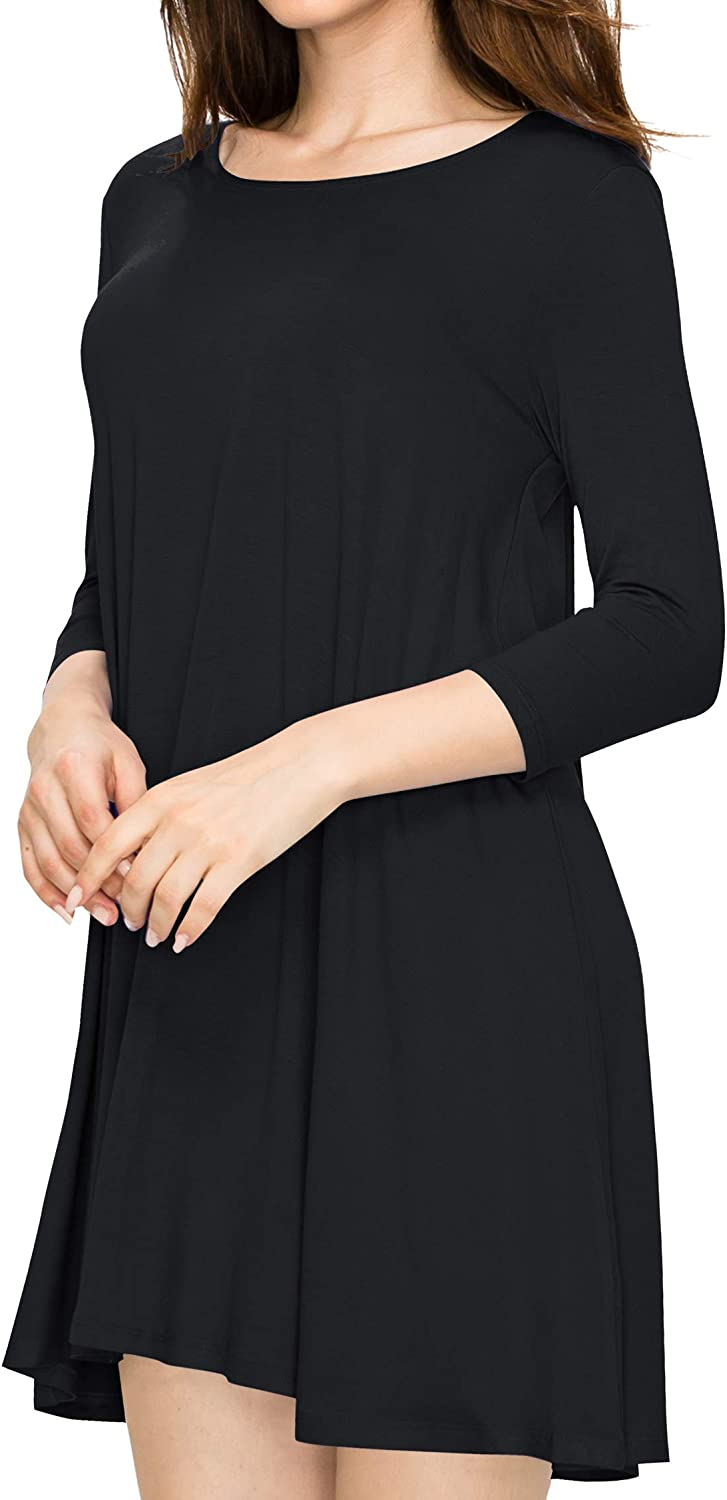 Lock and Love Women\'s S~3XL Round Neck 3/4 Sleeves Swing Flared Tunic Dress Longline Top - Made in USA 61WwtFOAheL