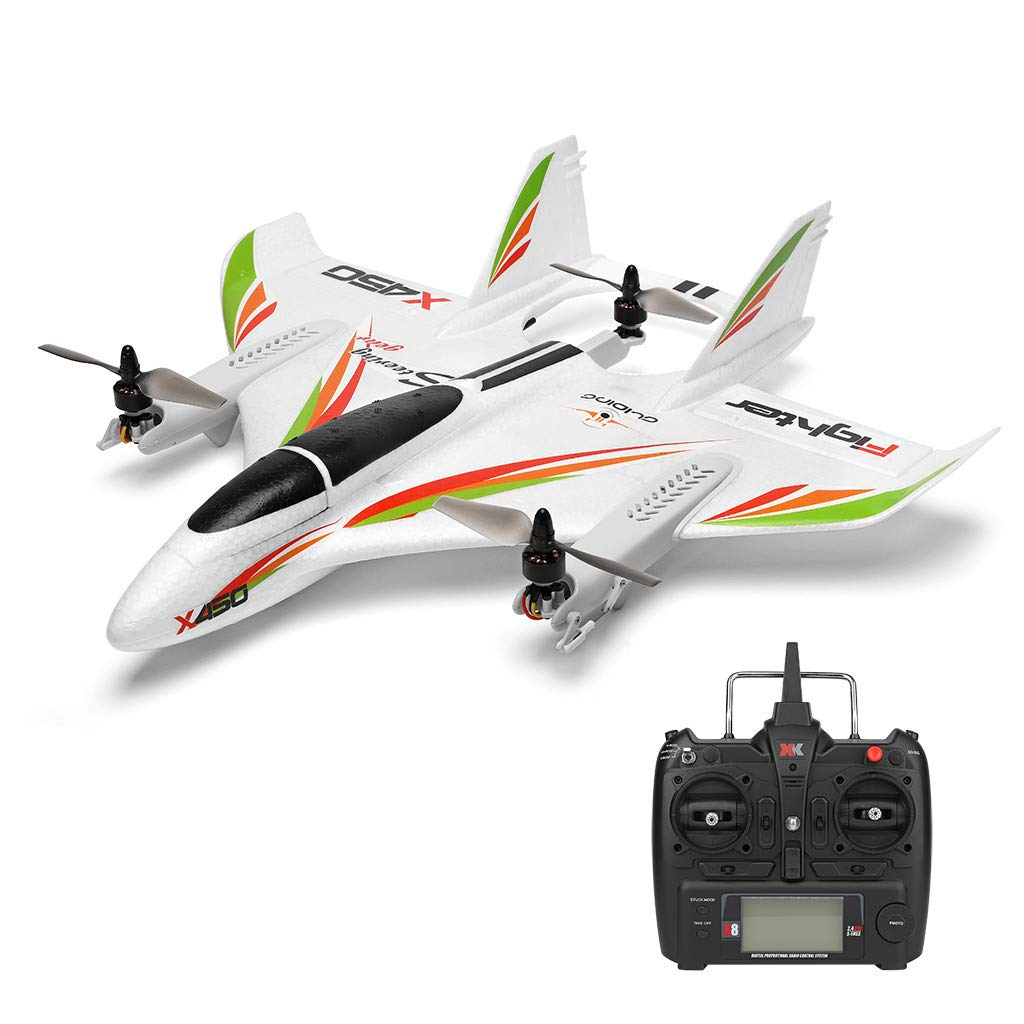 iuockg RC Glider Helicopters Airplane Aircraft, X450 6CH 3D/6G Vertical Takeoff Land Delta Wing RC Glider for Age 14+ Kids Adults Beginners (White) by iuockg