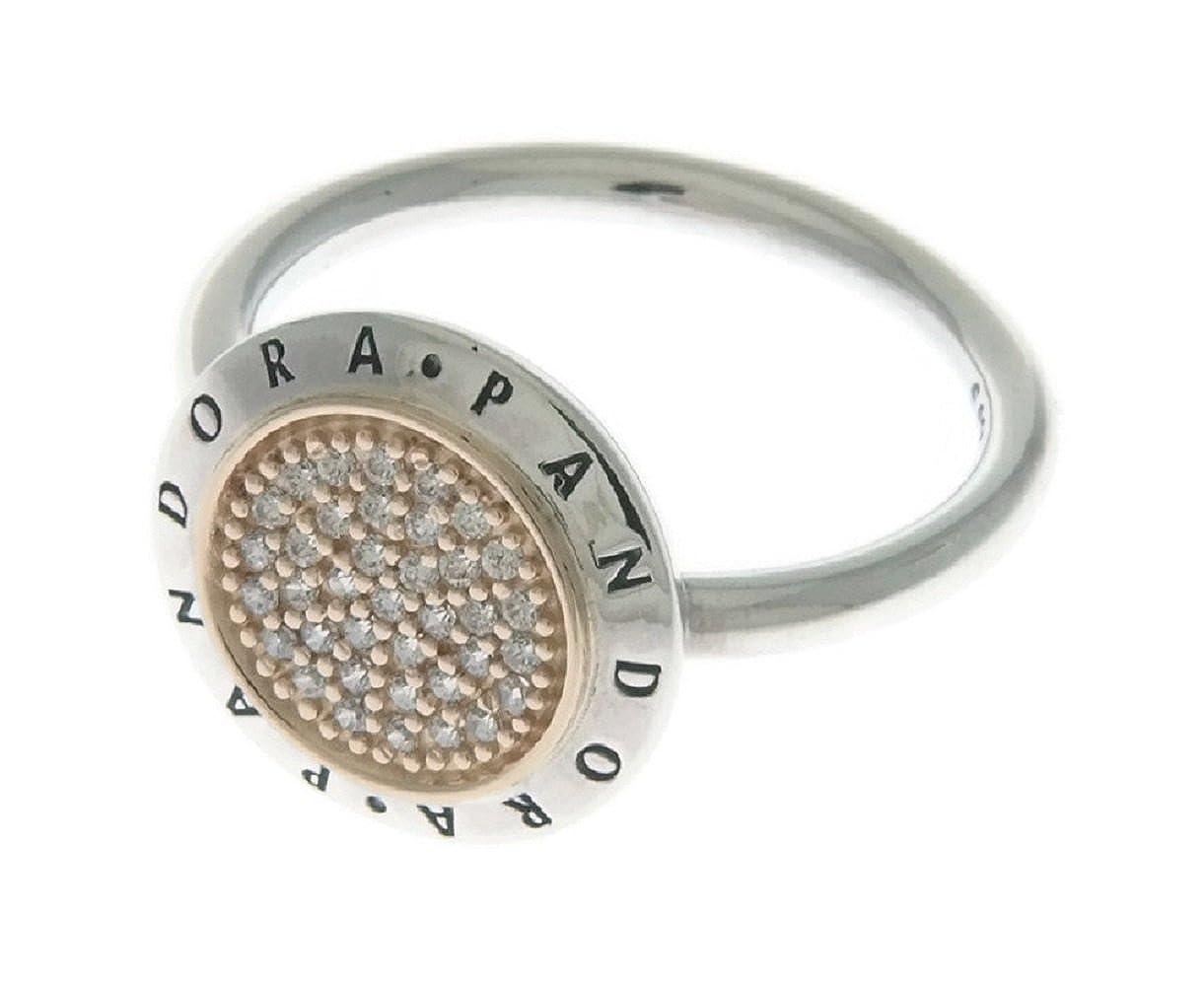 24464fb6e Amazon.com: Pandora Signature Logo Silver & Gold Ring 196231CZ58: Jewelry