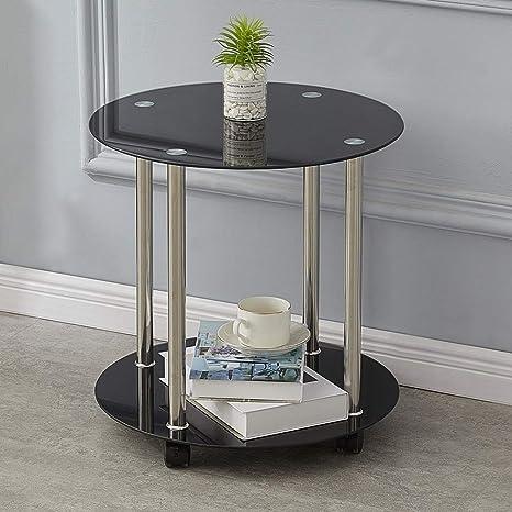 Clipop 2 Tier Small Glass Coffee Table Sofa Side End Tea Tables
