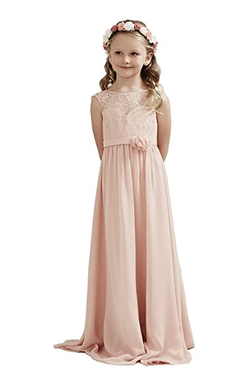 Lilis Flower Girl Dress A-line Lace Chiffon Junior Bridesmaid Dress Wedding Party Girl Dresses: Amazon.co.uk: Clothing