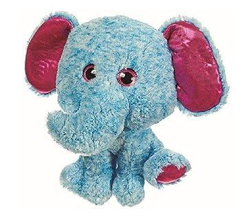 Amazon Com A T Designs Blue Elephant With Big Pink Eyes Plush