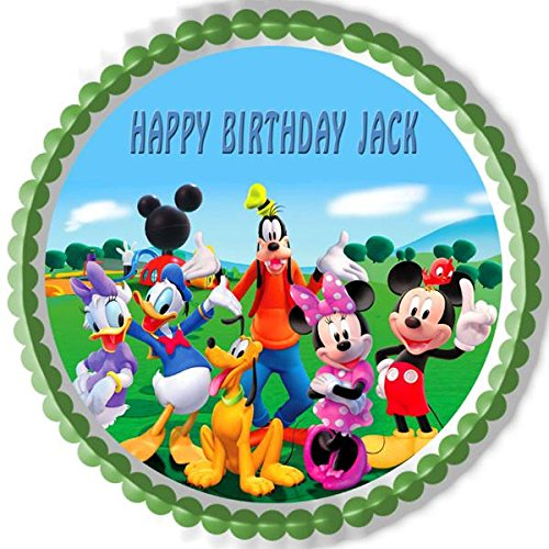 8 Round Edible Cake//Cupcake Party Topper!!! Mickey Mouse Roadster Racers