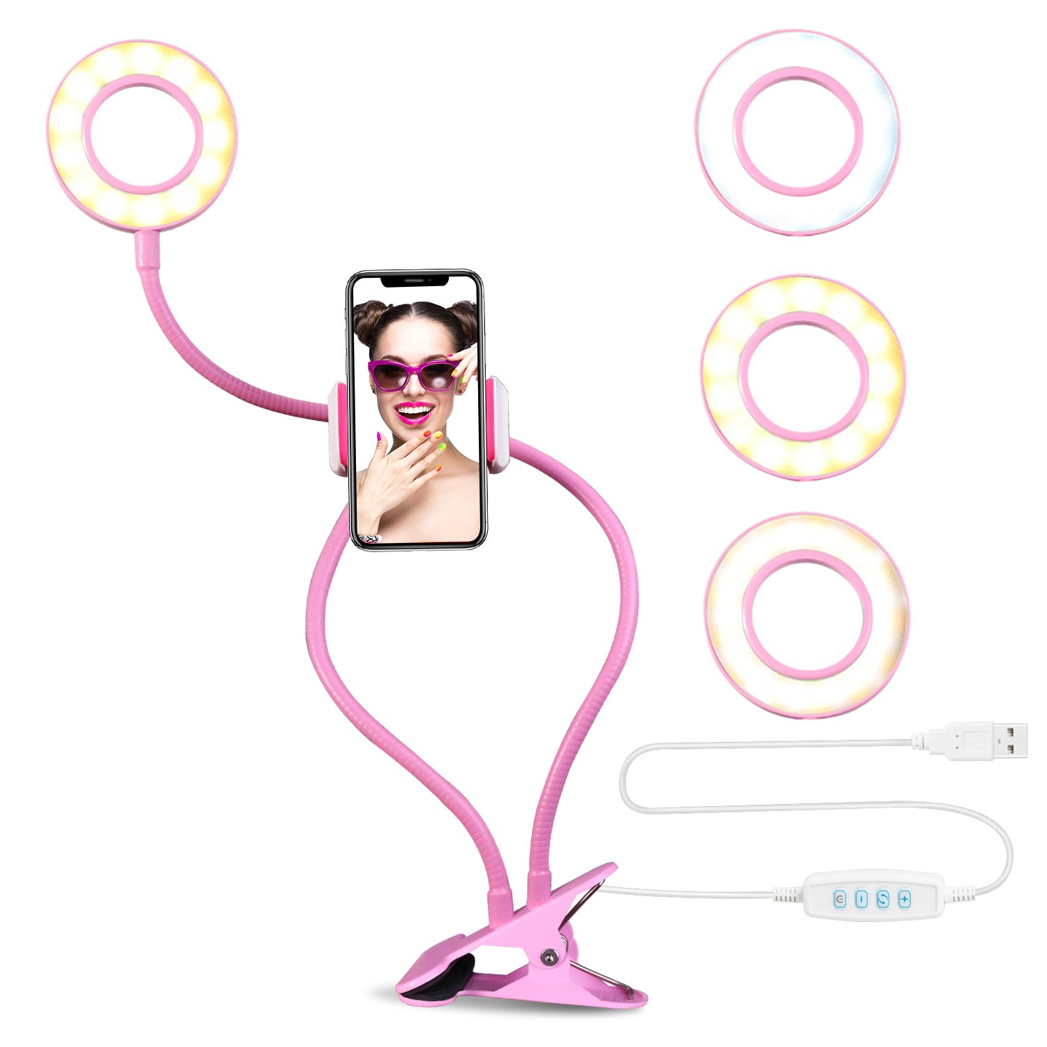 Selfie Ring Light with Cell Phone Holder Stand for Live Stream & Makeup Including Selfie Remote Shutter , UBeesize LED Camera Light with Flexible Long Arms, Compatible with Android Phone iPhone