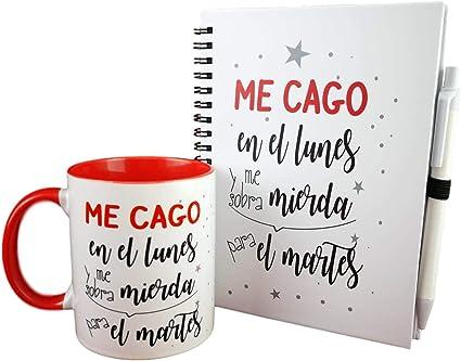Pack DE LIBRETA Y Taza Frase ME CAGO EN LOS Lunes Y ME SOBRA Mierda para EL Martes Regalo Original: Amazon.es: Hogar