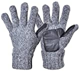 Woogwin Men's Winter Wool Knit Gloves Thick Fleece Lined Warm Non Slip Gloves (Gray)