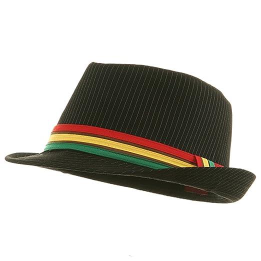Amazon.com  Pinstripe Rasta Fedora Hat - Black S-M  Clothing 55416e577373