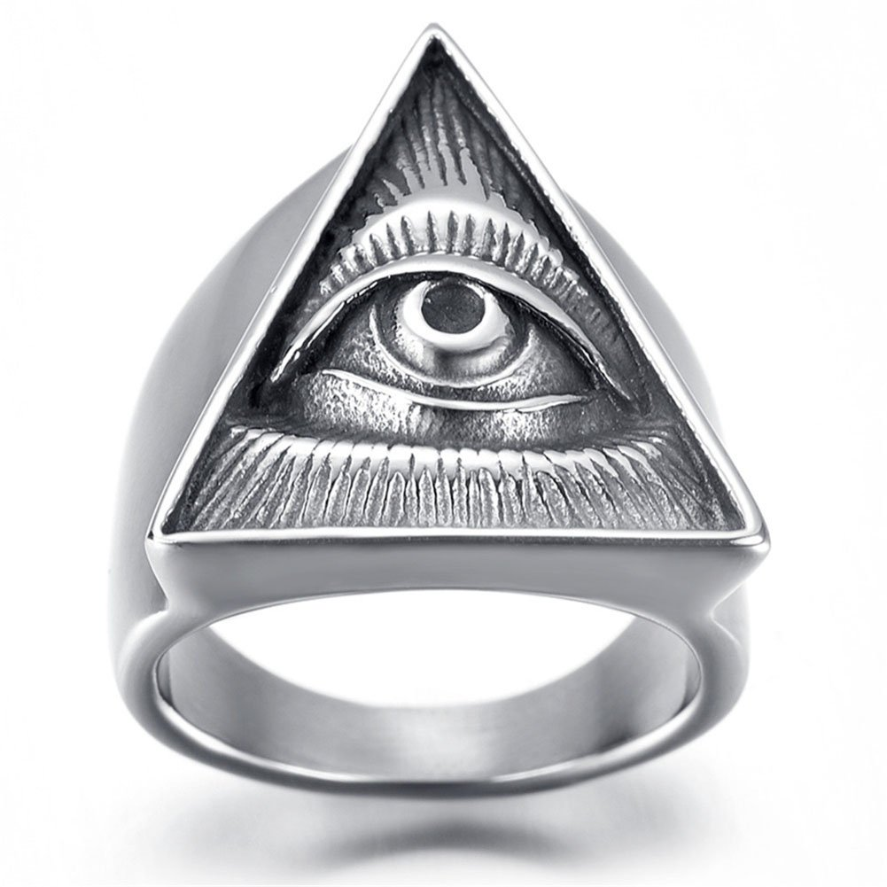JAJAFOOK Men's Silver Full-Eyed Pyramid Triangle Ring, Stainless steel Gothic Bike Ring (13) by JAJAFOOK (Image #2)