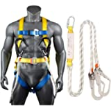 Full Body Safety Harness Tool Fall Protection with D-Rings and Waist Belt,Universal Personal Protective Equipment