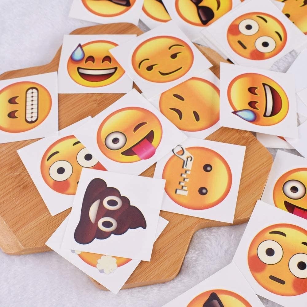 Tomkity 200 Piezas Tatuajes Temporales Emoji Pi/ñata Infantiles Fiestas Regalo Cumplea/ños 4.5 4.5cm