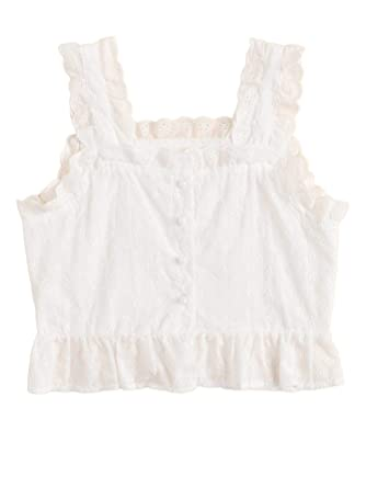 cbf5b6006c SheIn Women's Sleeveless Ruffle Lace Embroidered Button Up Cami Tank Top  Blouse Small White