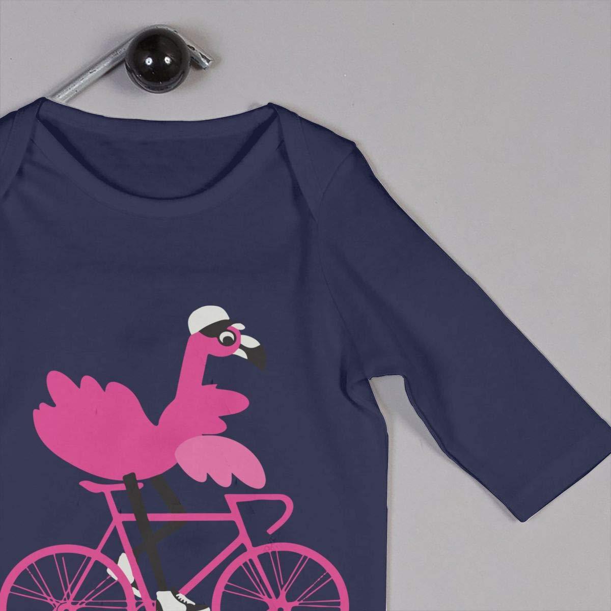 Flamingo On A Bicycle Baby Boy Girl Long Sleeve Infant Cotton Bodysuits