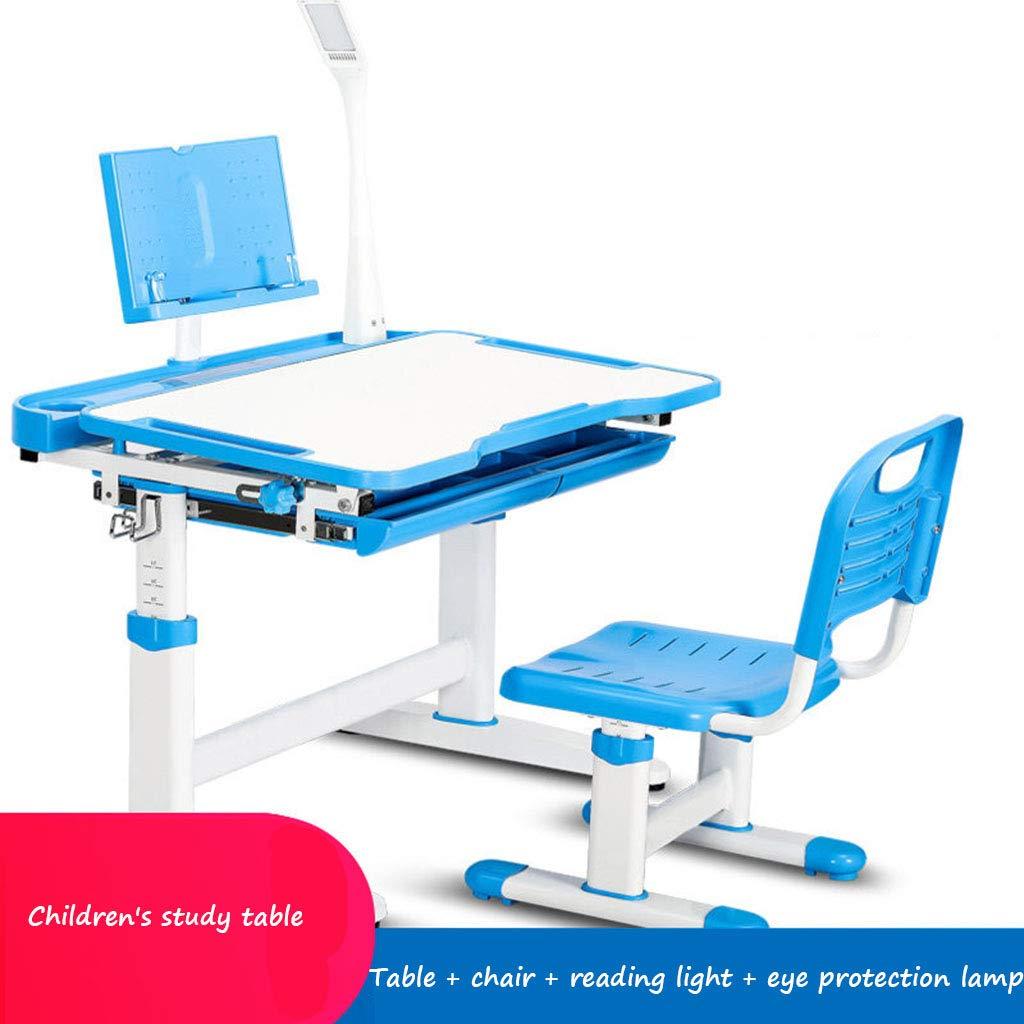 GZW001 Kinder Studieren Schreibtisch Hause Student Tisch und Stuhl Kombination einfache Lift Tisch und Stuhl Student sitzen Haltung korrektur Stuhl Kinder Funktion Schreibtisch Blau 705174CM(272029)