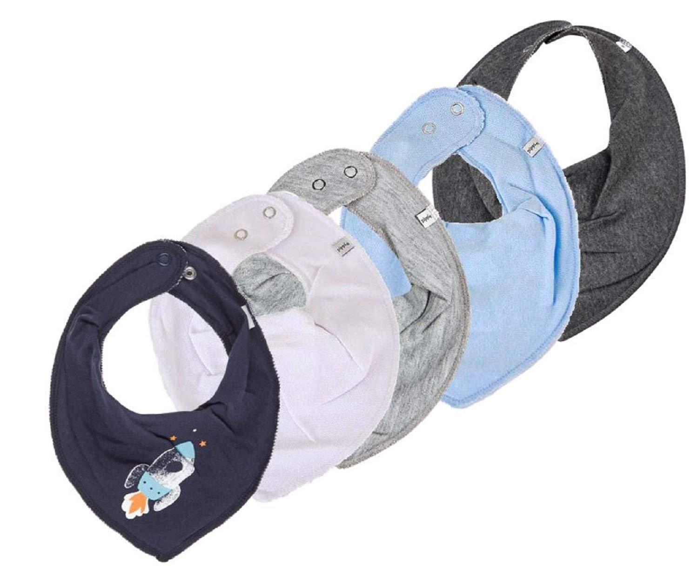 Rakete auf blau PIPPI 4er Super Set Baby HALSTUCH Dreieckstuch 4 St/ück WINTER mit weiss//grau//hellblau//steingrau 1 Halstuch mit Fleece GRATIS
