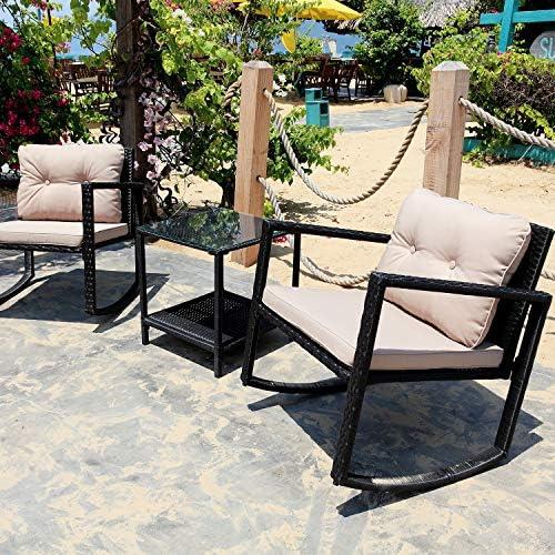 M W 3 Piece Patio Rocking Chair Set