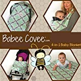 Babee Covee Classic 4-in-1 Convertible Baby Blanket ~ Car seat ~ Stroller Blanket ~ Baby Carrier Blanket ~ Playtime Blanket: Clover-Gray & Mint