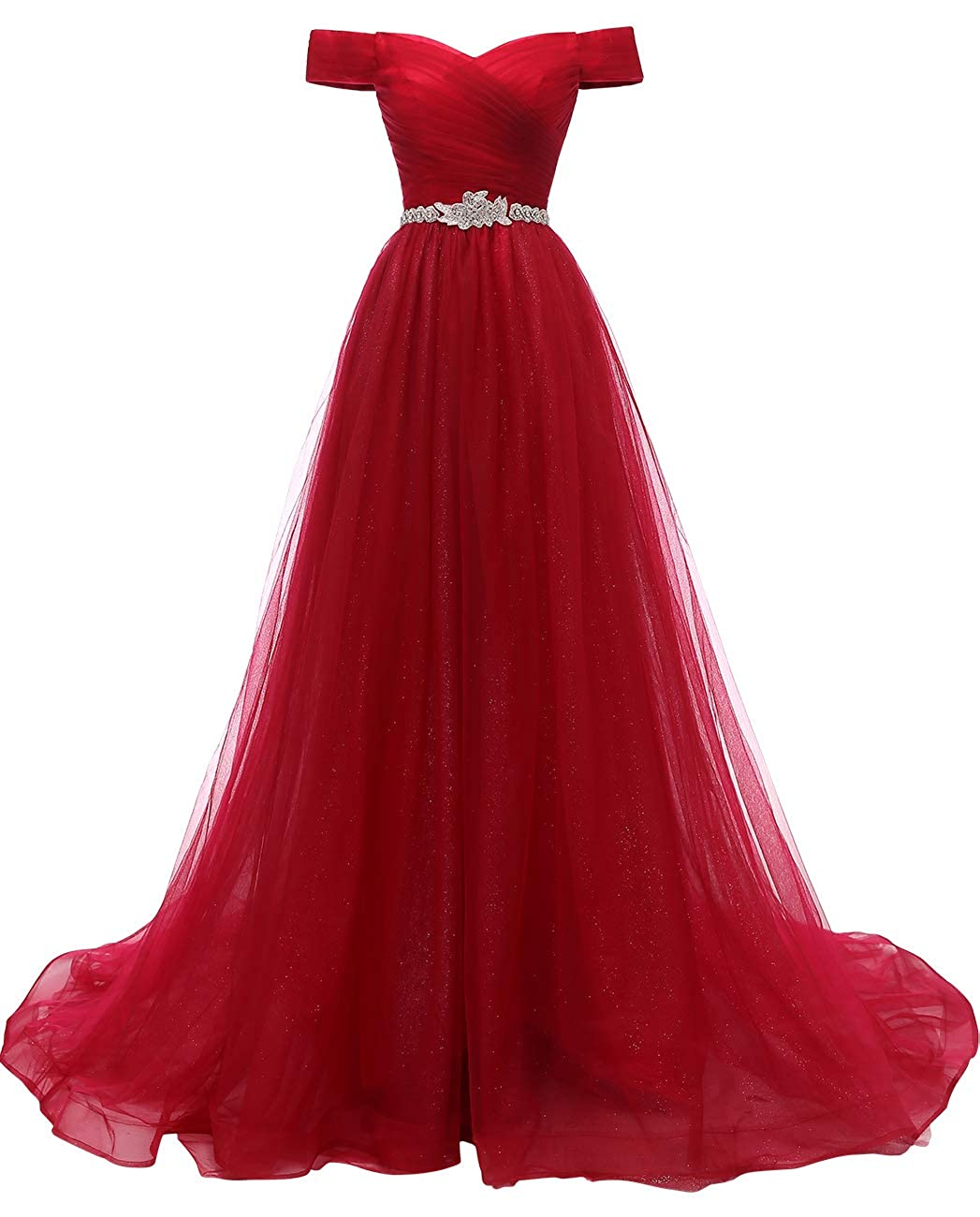 Red VKBRIDAL Women's Off Shoulder A Line Prom Dresses Long Beaded Princess Ball Gowns