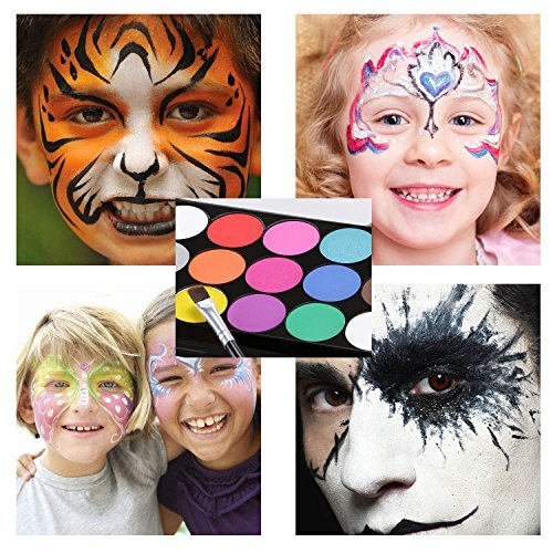 Schminkfarben Ultimatives Party Set Xpassion Sicheres Nichttoxisches Schminkpalette Berufs Gesichts Körper Anstrich Satz mit 1 Pinsel 15 Farben für Kinder Parties Bodypainting Halloween Make-up