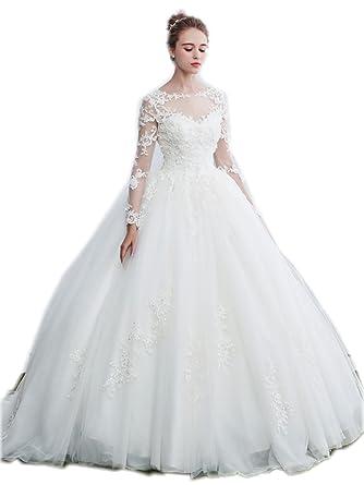 WD-003 Beautiful bateau neckline ball gown wedding dress appliqued bodice  with keyhole back ( 2e46a1fd2aa7