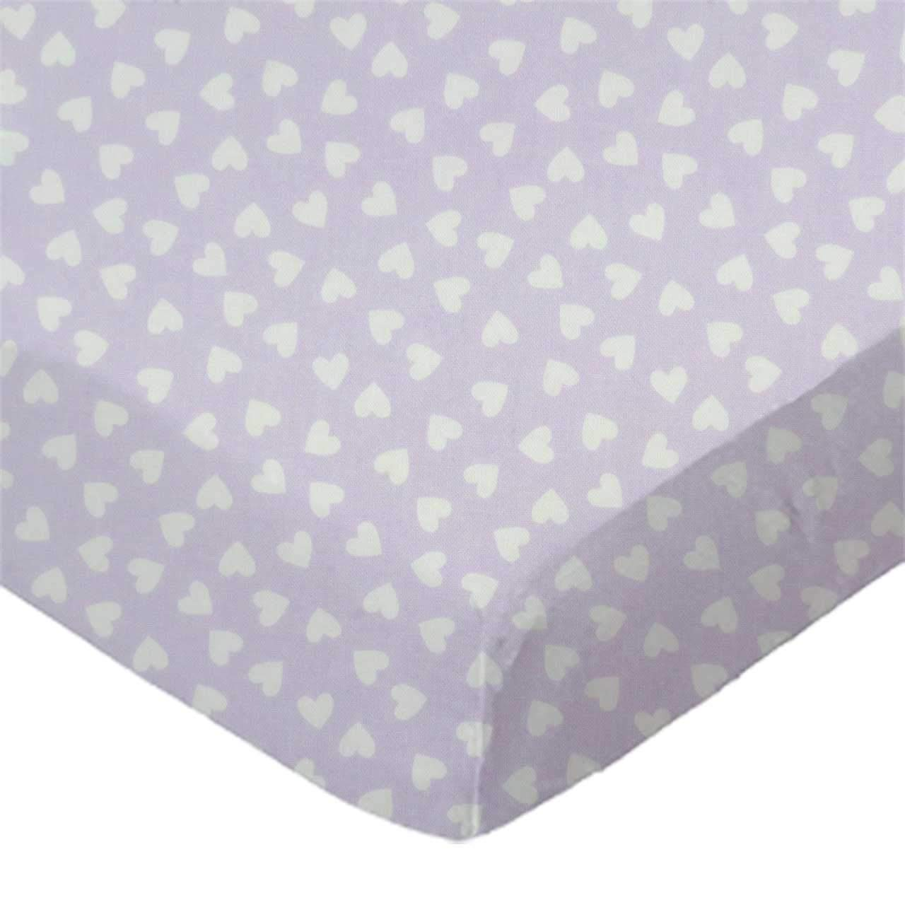 SheetWorld Fitted Bassinet Sheet - Hearts Pastel Lavender Woven - Made In USA by sheetworld   B003R9QGFE