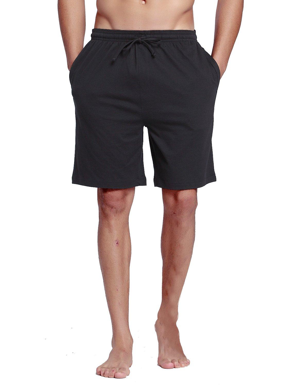 CYZ Men's 100% Cotton Knit Sleep Shorts-BlackNoStripe-L