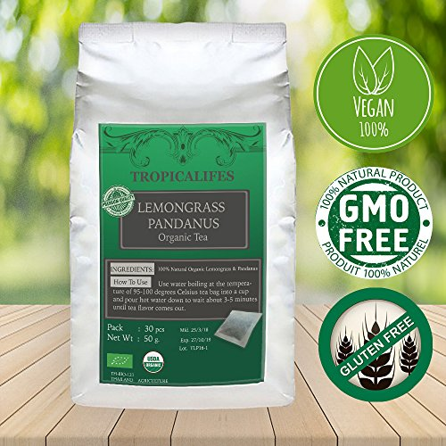 Lemongrass Pandan Tea - Organic Herbal Tea - Tasty, Stress Relief, and Relaxing Pandan Tea - Perfect for Blood Circulation, Heartburn, Stomach Gas, Bloating and Calcium Absorption (30 tea bag)
