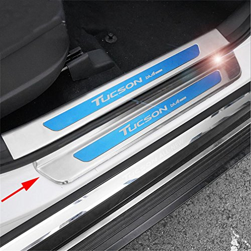 Vesul 4PCs Stainless Steel Outside Door Sill Scuff Plate Guard Door Entry Pad Compatible with Hyundai Tucson 2016 2017 2018