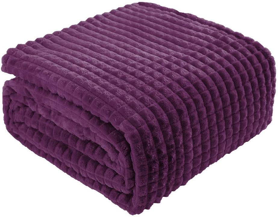 uxcell Solid Flannel Fleece Twin Size Blanket,Lightweight Soft Decorative Blanket with Grid Pattern,Luxury Microfiber Plush Blanket for Couch and Bed, 59 inches x 78 inches, Purple