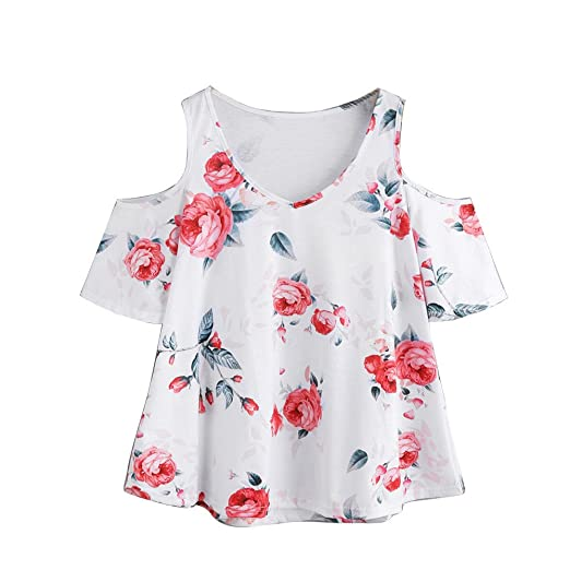 253bc48b58fda Handyulong Women Shirts Casual Sexy Short Sleeve Cold Shoulder Floral Print  Tunic T-Shirt Blouse