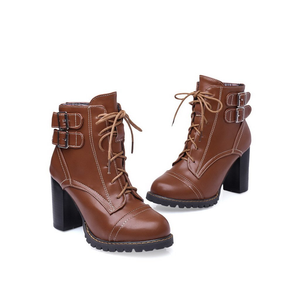 AmoonyFashion Women's Lace up Round Closed Toe High Heels Low Top Boots, Brown, 32 by AmoonyFashion (Image #2)