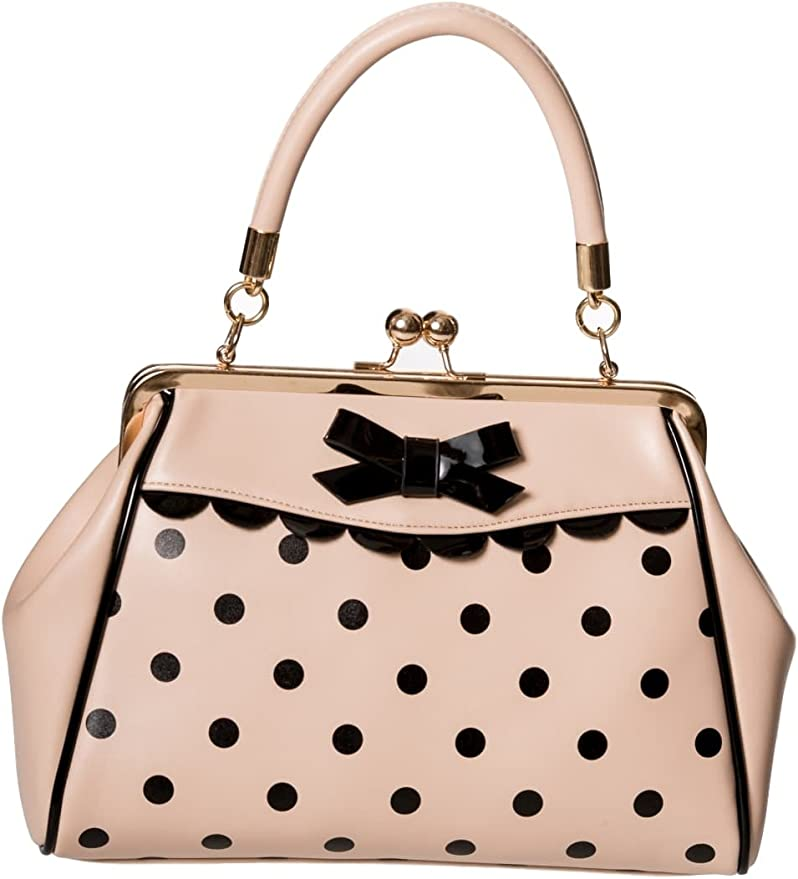 1950s Handbags, Purses, and Evening Bag Styles Dancing Days Crazy Little Thing Vintage Bag 50s Rockabilly Polka Top Handle Handbag  AT vintagedancer.com