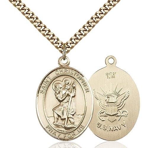 14k Yellow Gold St Michael The Archangel Pendant Necklace