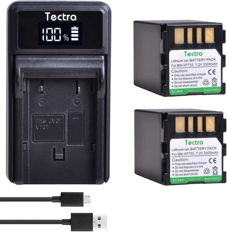 Tectra 2-Pack BN-VF733 Battery and LED USB Charger for JVC GR-D645 GR-D650 GR-DF450 GR-DF470 GR-DF570 GR-DF577 GZ-DF270 GZ-DF420 GZ-DF470 GZ-MG27 GZ-MG37 GZ-MG39 GZ-MG40 GZ-MG70 GZ-MG77 GZ-MG500 GZ-MG
