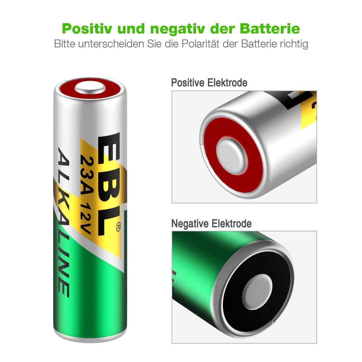 EBL 10 Stück A23 Alkaline Batterie Typ 23A MN21 V23GA MS21 Batterien