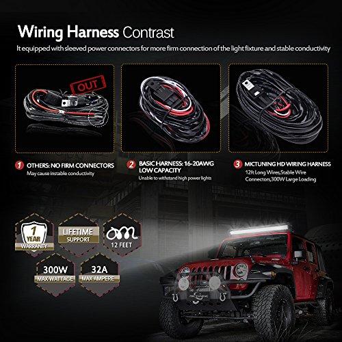 MICTUNING-HD-300w-LED-Light-Bar-Wiring-Harness-Fuse-40-Amp-Relay-ON-OFF-Rocker-Switch-Blu