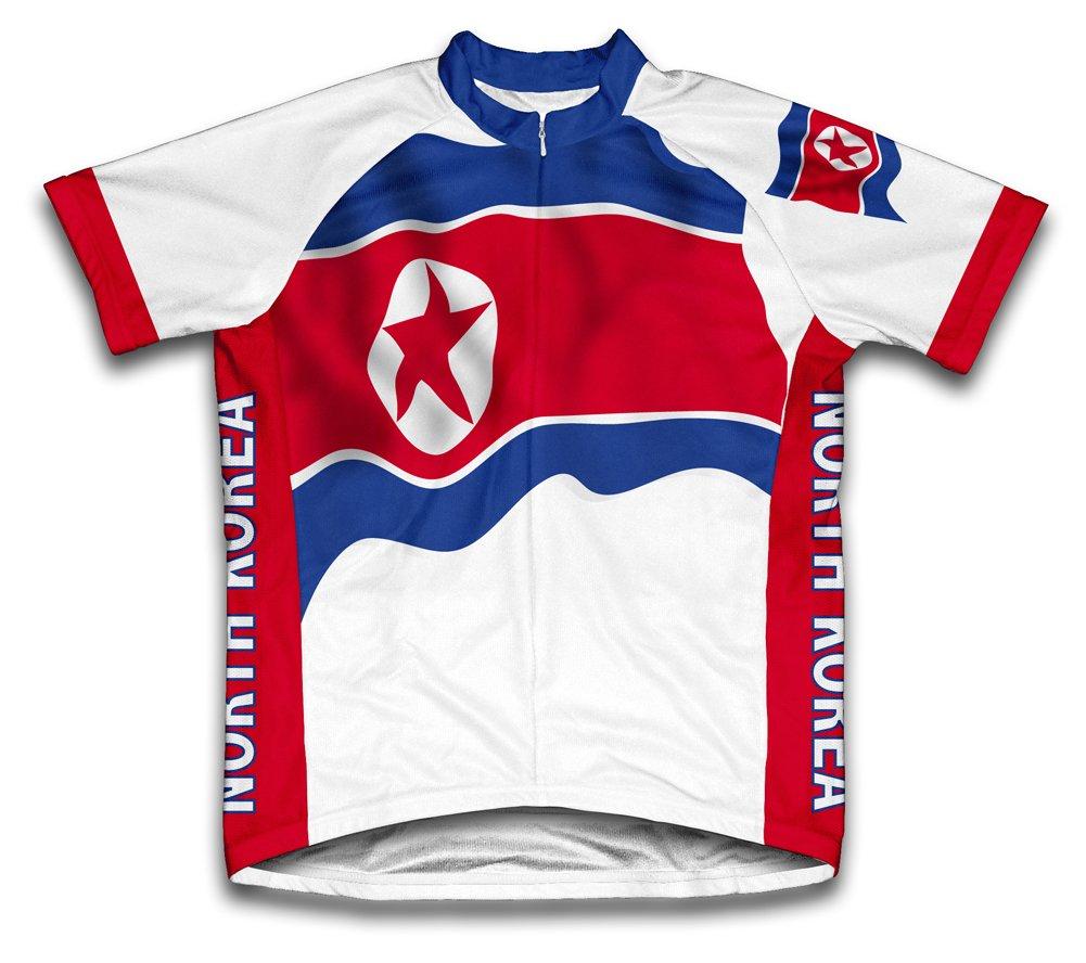 North Korea Flag Radsport Trikot mit kurzer Ärmel für Menner