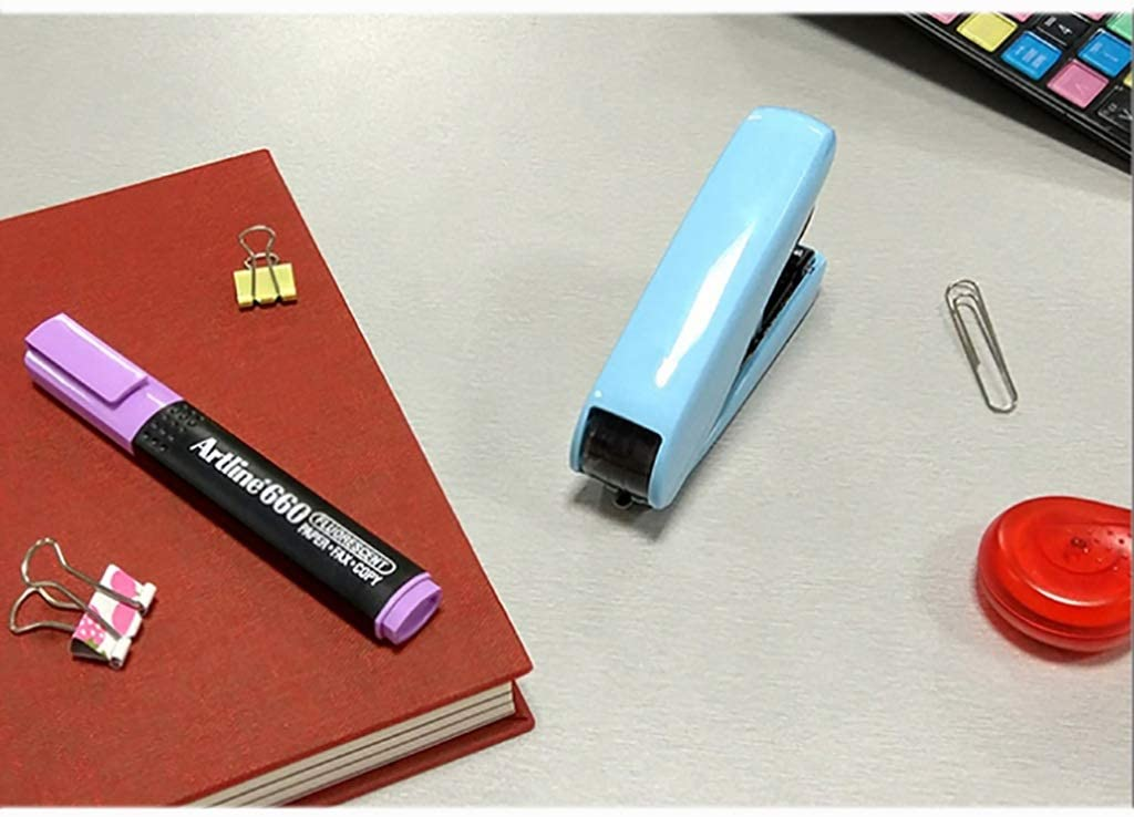 Color : A1 Stapler Student use Small So Much Cuter Flat Foot Effort Book 40 Pages Candy Colors Belt Puller Needle