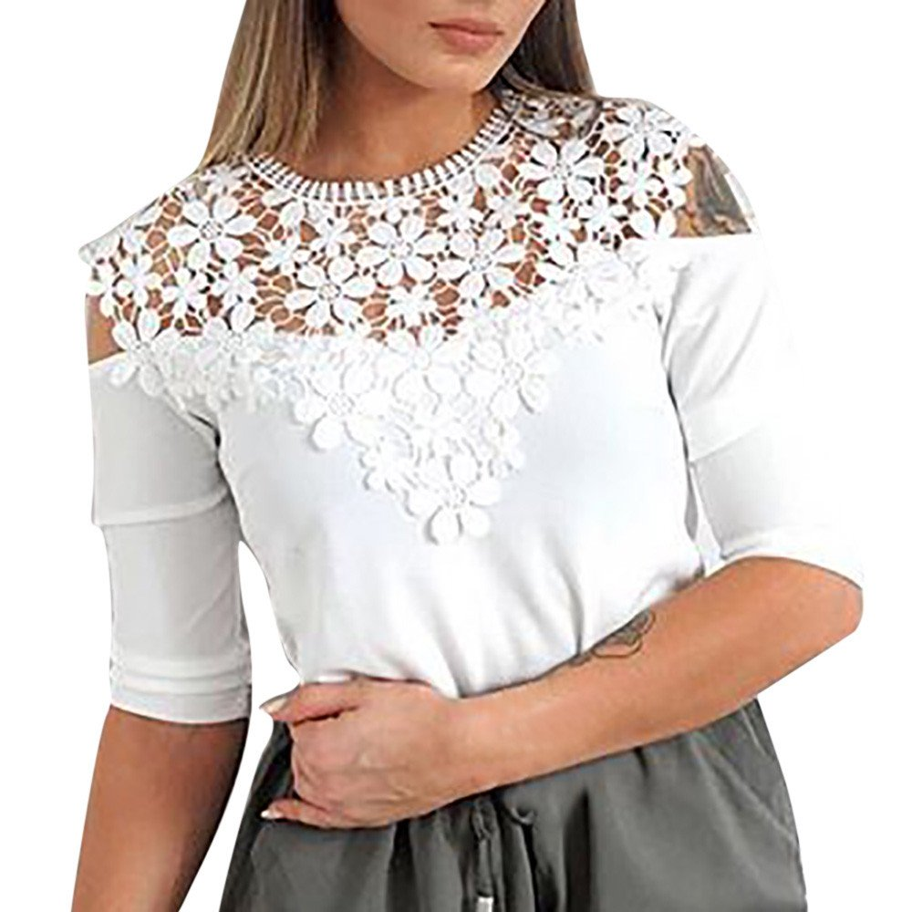 BB67 Womens Fashion Short Sleeve Hollow Out Floral Lace Patchwork Loose T-Shirt Summer Casual Shirt Tops S-XL White