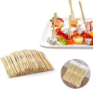 Bamboo Forks,3.5 inch,200 PCS, Mini Food Picks Skewers for Appetizer, Fruit, Pastry, Dessert, Garnish, Sandwich (200 Pcs)